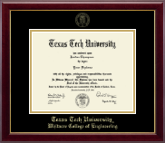 Texas Tech University Diploma Frame - Gold Embossed Diploma Frame in Gallery