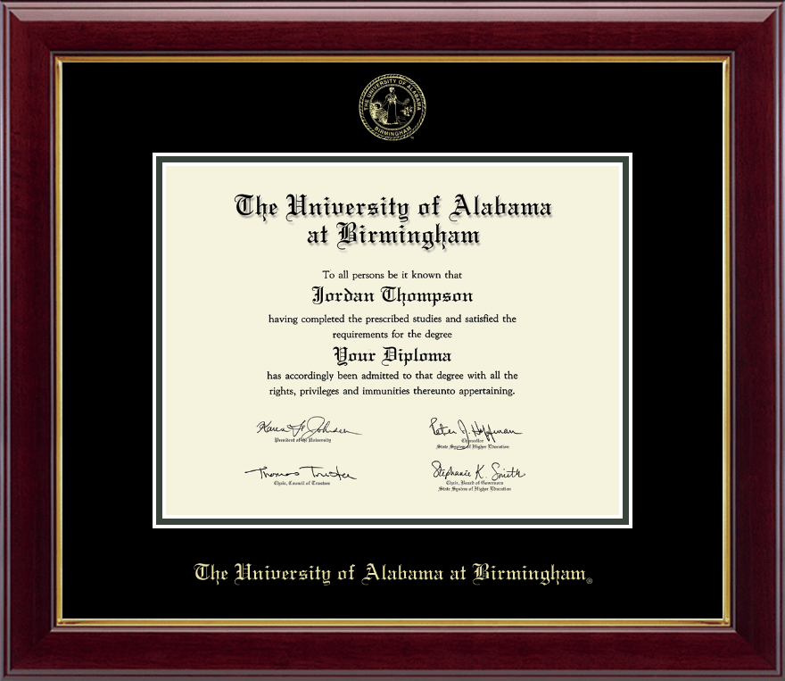 The University Of Alabama At Birmingham Gold Embossed