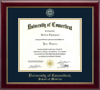 University of Connecticut School of Medicine Diploma Frame - Masterpiece Medallion Diploma Frame in Gallery