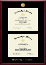 University of Illinois Diploma Frame - 23K Double Diploma Frame in Galleria