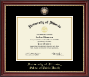 University of Illinois Diploma Frame - Brass Masterpiece Medallion Diploma Frame in Kensington Gold