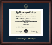 University of Michigan Diploma Frame - Gold Embossed Diploma Frame in Regency Gold