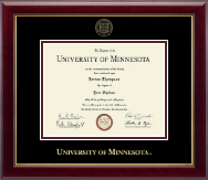 University of Minnesota Twin Cities Diploma Frame - Gold Embossed Diploma Frame in Gallery