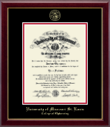 University of Missouri Saint Louis Diploma Frame - Gold Embossed Diploma Frame in Gallery