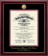 University of Missouri Saint Louis Diploma Frame - 23K Medallion Diploma Frame in Gallery