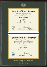 University of Alaska Anchorage Diploma Frame - Gold Embossed Double Diploma Frame in Williamsburg