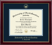 University of North Carolina Asheville Diploma Frame - Gold Embossed Diploma Frame in Gallery