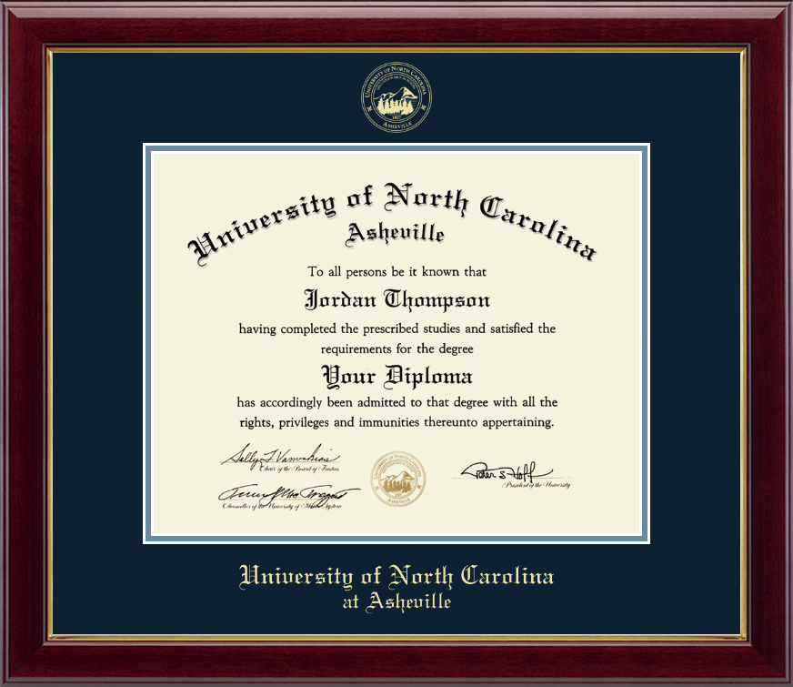 University Of North Carolina Asheville Gold Embossed