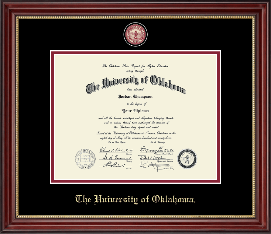 the university of oklahoma diploma frame masterpiece medallion diploma frame in kensington gold