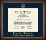 University of Pittsburgh Diploma Frame - Gold Embossed Diploma Frame in Regency Gold