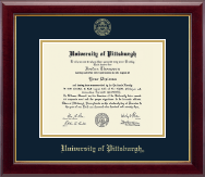 University of Pittsburgh Diploma Frame - Gold Embossed Diploma Frame in Gallery