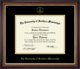 The University of Southern Mississippi Diploma Frame - Gold Embossed Edition Diploma Frame in Regency Gold
