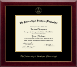 The University of Southern Mississippi Diploma Frame - Gold Embossed Edition Diploma Frame in Gallery