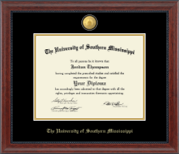 The University of Southern Mississippi Diploma Frame - 23K Edition Diploma Frame in Signature