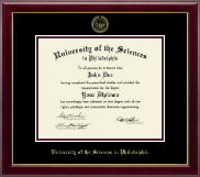 University of the Sciences in Philadelphia Diploma Frame - Gold Embossed Diploma Frame in Gallery