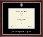 University of St. Thomas Diploma Frame - Pewter Masterpiece Medallion Diploma Frame in Kensington Silver
