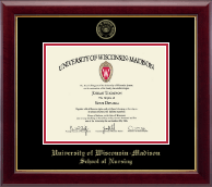 University of Wisconsin Madison Diploma Frame - Gold Embossed Diploma Frame in Gallery