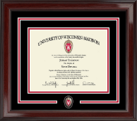 University of Wisconsin Madison Diploma Frame - Spirit Shield Medallion Diploma Frame in Encore