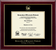 University of Wisconsin Oshkosh Diploma Frame - Gold Embossed Diploma Frame in Gallery