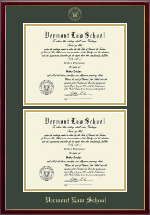 Vermont Law School Diploma Frame - Gold Embossed Double Diploma Frame in Galleria
