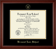 Vermont Law School Diploma Frame - Gold Embossed Diploma Frame in Cambridge