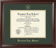 Vermont Law School Diploma Frame - Gold Embossed Diploma Frame in Rainier