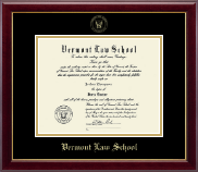 Vermont Law School Diploma Frame - Gold Embossed Diploma Frame in Gallery