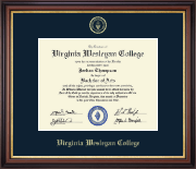 Virginia Wesleyan College Diploma Frame - Gold Embossed Diploma Frame in Regency Gold