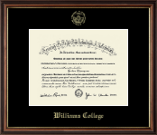 Williams College Diploma Frame - Gold Embossed Diploma Frame in Williamsburg