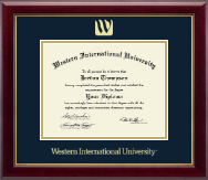 Western International University Diploma Frame - Gold Embossed Diploma Frame in Gallery