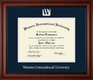 Western International University Diploma Frame - Silver Embossed Diploma Frame in Cambridge