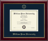 William Penn University Diploma Frame - Gold Embossed Diploma Frame in Gallery