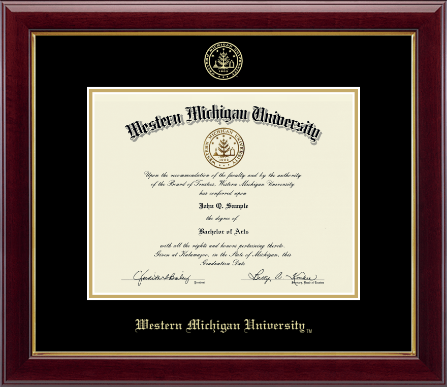Western Michigan University Gold Embossed Diploma Frame in Gallery ...