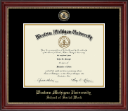 Western Michigan University Diploma Frame - Masterpiece Medallion Diploma Frame in Kensington Gold
