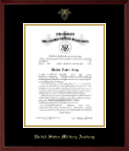 United States Military Academy Certificate Frame - Gold Embossed Commission Certificate Frame in Camby