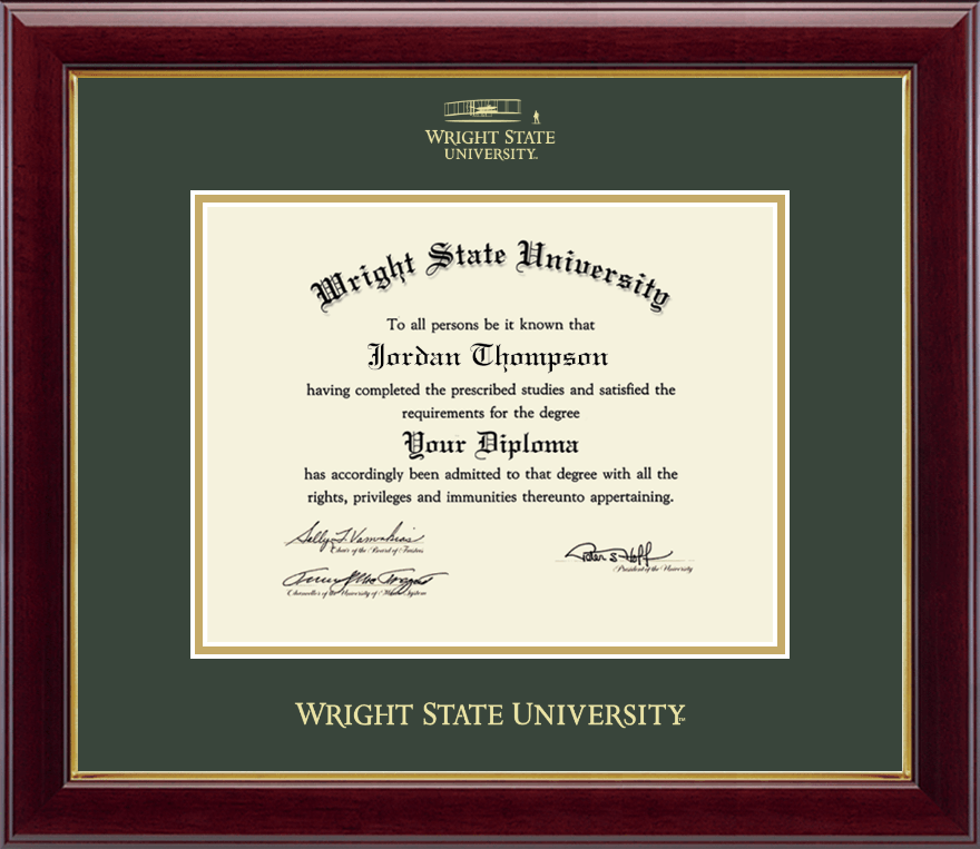 Wright State University Gold Embossed Diploma Frame In