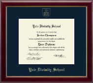 Yale Divinity School Diploma Frame - Gold Embossed Diploma Frame in Gallery