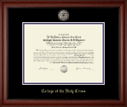 College of the Holy Cross Diploma Frame - Black Enamel Masterpiece Medallion Diploma Frame in Cambridge
