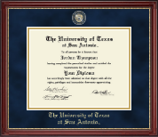 The University of Texas San Antonio Diploma Frame - Masterpiece Medallion Diploma Frame in Kensington Gold