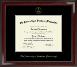 The University of Southern Mississippi Diploma Frame - Gold Embossed Edition Diploma Frame in Encore