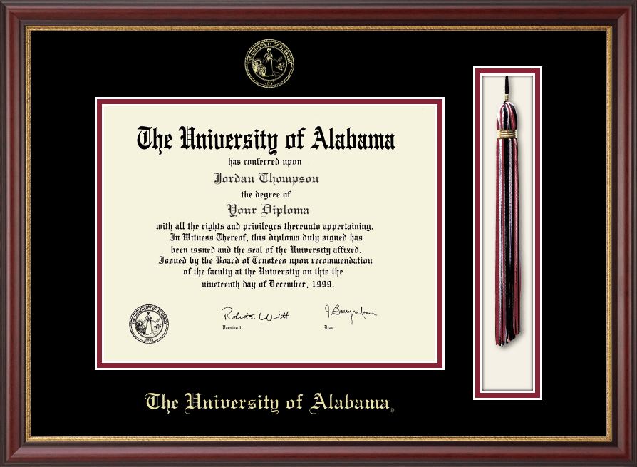 the university of alabama tuscaloosa diploma frame tassel edition diploma frame in newport