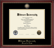 Widener University School of Law Diploma Frame - Masterpiece Medallion Diploma Frame in Kensington Gold