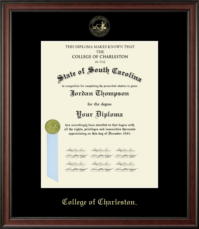 college of charleston gold embossed diploma frame in studio item 122261 from college of charleston book store - Diploma Frame Size