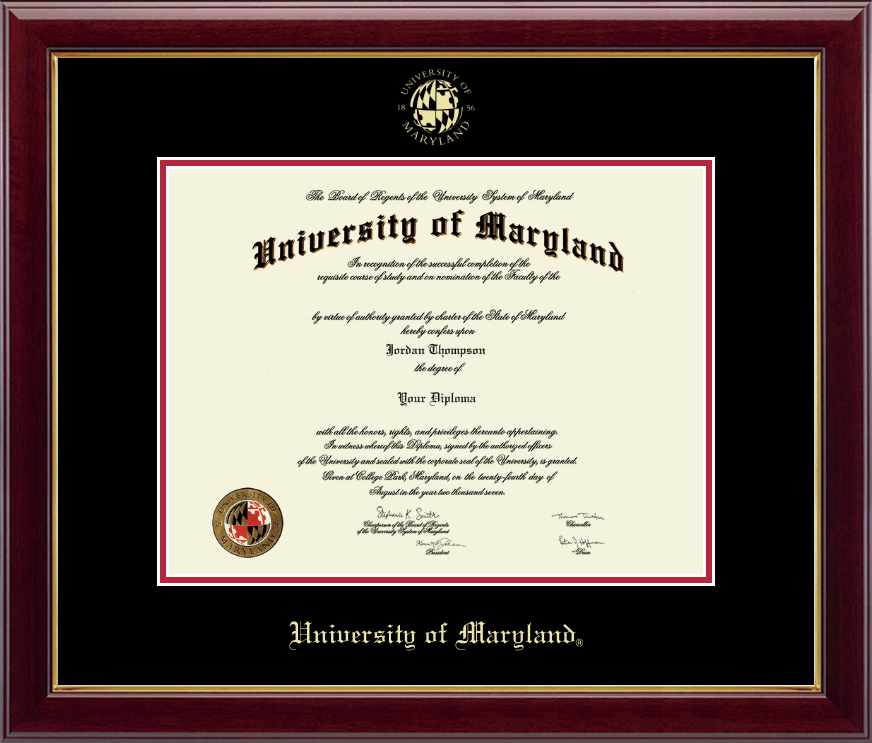 University Of Maryland College Park Gold Embossed Diploma