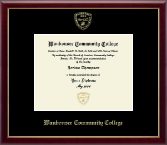 Waubonsee Community College Diploma Frame - Gold Embossed Diploma Frame in Galleria