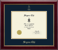 Sigma Chi Certificate Frame - Gold Embossed Certificate Frame in Gallery