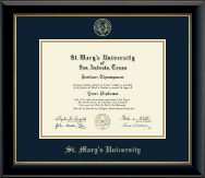 St. Mary's University Diploma Frame - Gold Embossed Diploma Frame in Onyx Gold