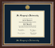 St. Gregory's University Diploma Frame - 23K Medallion Diploma Frame in Hampshire