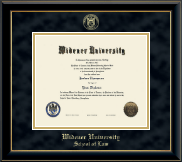 Widener University School of Law Diploma Frame - Gold Embossed Diploma Frame in Onyx Gold