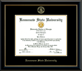 Kennesaw State University Diploma Frame - Gold Embossed Diploma Frame in Onyx Gold
